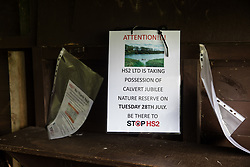 Notices posted by environmental activists from Stop HS2 are seen in a bird hide at Calvert Jubilee Nature Reserve on 27 July 2020 in Calvert, United Kingdom. On 22nd July, the Berks, Bucks and Oxon Wildlife Trust (BBOWT) reported that it had been informed of HS2's intention to take possession of part of Calvert Jubilee nature reserve, which is home to bittern, breeding tern and some of the UK's rarest butterflies, on 28th July to undertake unspecified clearance works in connection with the high-speed rail link.