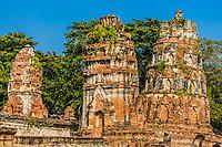 Wat Mahathat temple ruins at Ayutthaya Bangkok Thailand