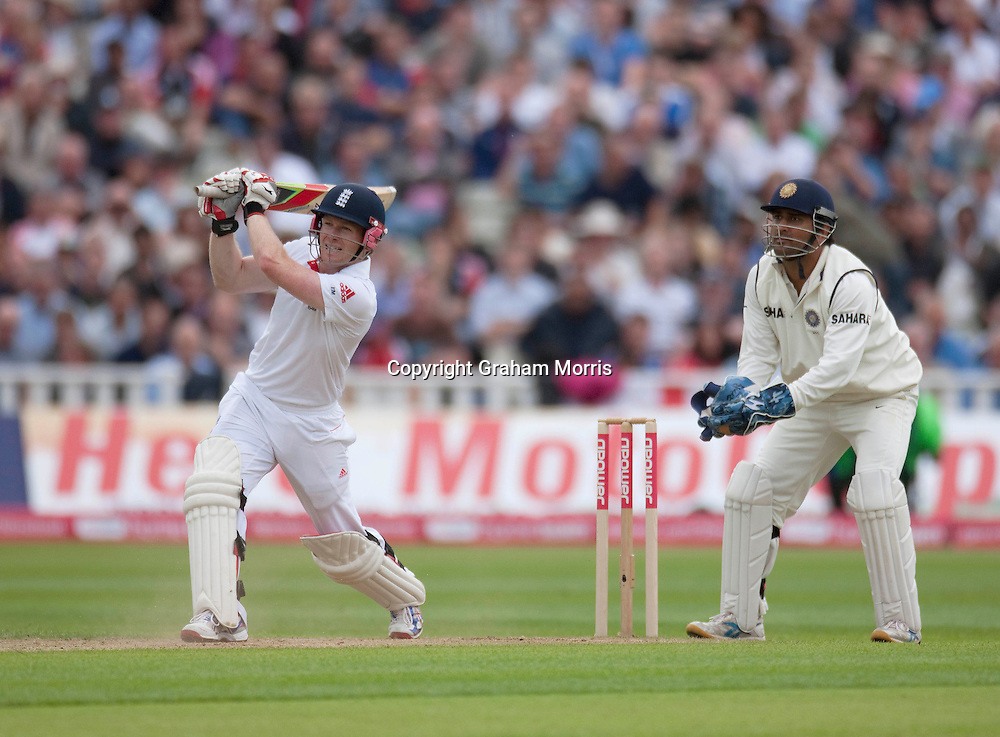 Eoin Morgan bats during his century in the third npower Test Match between England and India at Edgbaston, Birmingham.  Photo: Graham Morris (Tel: +44(0)20 8969 4192 Email: sales@cricketpix.com) 12/08/11