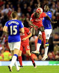 Mamadou Sakho of Liverpool wins a header - Mandatory by-line: Matt McNulty/JMP - 20/04/2016 - FOOTBALL - Anfield - Liverpool, England - Liverpool v Everton - Barclays Premier League