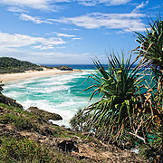 Looking north along the beaches from Point Lookout on Stradbroke Island, Queensland's most easterly point. North Stradbroke Island, just off Queensland's capital city of Brisbane, is the world's second largest sand island and, with its miles of sandy beaches, a popular summer holiday destination.