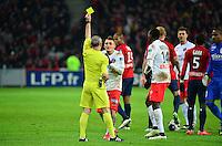 Marco VERRATTI carton jaune / Lionel JAFFREDO - 03.02.2015 - Lille / Paris Saint Germain - 1/2Finale Coupe de la Ligue<br />Photo : Dave Winter / Icon Sport
