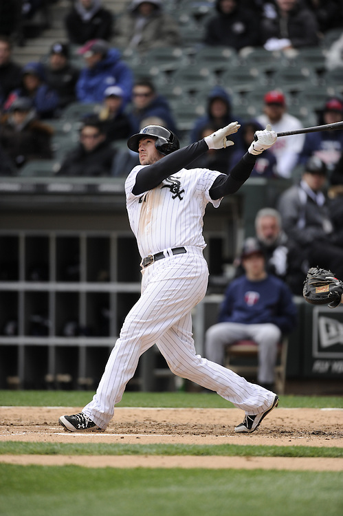 CHICAGO - APRIL 20:  Tyler Flowers #21 of the Chicago White Sox bats against the Minnesota Twins on April 20, 2013 at U.S. Cellular Field in Chicago, Illinois.  The Twins defeated the White Sox 2-1 .  (Photo by Ron Vesely)   Subject:  Tyler Flowers