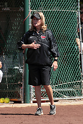 19 April 2014:  Melinda Fischer during an NCAA women's softball game between the Evansville Purple Aces and the Illinois State Redbirds on Marian Kneer Field in Normal IL