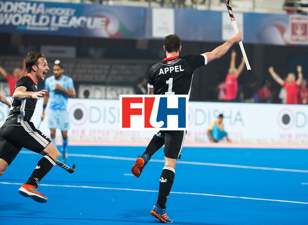 BHUBANESWAR - Hockey World League finals Match for bronze , Germany v India (1-2).  Mark Appel (Ger) scored . left Niklas Bruns (Ger). COPYRIGHT KOEN SUYK
