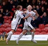 Photo: Daniel Hambury.<br />Brentford v Doncaster Rovers. Coca Cola League 1. 25/03/2006.<br />Doncaster's Sean Thornton celebrates his goal.