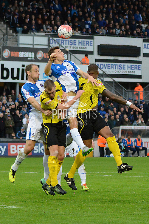 Bristol Rovers defender Tom Lockyer wins a header during the The FA Cup match between Bristol Rovers and Chesham FC at the Memorial Stadium, Bristol, England on 8 November 2015. Photo by Alan Franklin.