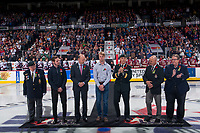 REGINA, SK - MAY 27:  First Responder Dustin Baker is welcomed to centre ice for the ceremonial puck drop at the Brandt Centre on May 27, 2018 in Regina, Canada. (Photo by Marissa Baecker/CHL Images)