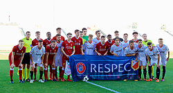 SEVILLE, SPAIN - Tuesday, November 21, 2017: Liverpool and Seville players before the UEFA Youth League Group E match between Sevilla FC and Liverpool FC at the Ciudad Deportiva Jose Ramon Cisneros. (Pic by David Rawcliffe/Propaganda)