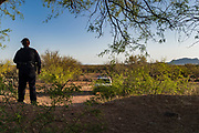 21 APRIL 2003 - SELLS, ARIZONA: Members of the Tohono O'Odham police department on patrol looking for undocumented immigrants who enter the US through the reservation.     PHOTO BY JACK KURTZ