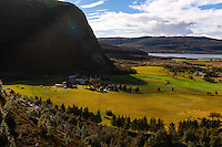 Norway, Trondelag. On the way up to Harbakshola in Stokksund. View of Harbak.