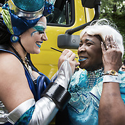 Hackney carnival 2017. The Beeraahaa Sweet Combination troup is run by Christina Oree and David Grant who have been organising carnival since the 1970s.