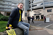 Burton Albion fan arrives early for the away match at St James's Park during the EFL Sky Bet Championship match between Newcastle United and Burton Albion at St. James's Park, Newcastle, England on 5 April 2017. Photo by Richard Holmes.