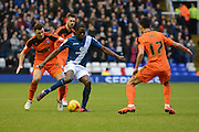 Ipswich Town defender Tommy Smith holds up Birmingham City striker Clayton Donaldson during the Sky Bet Championship match between Birmingham City and Ipswich Town at St Andrews, Birmingham, England on 23 January 2016. Photo by Alan Franklin.
