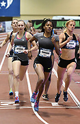 Mar 3, 3017; Albuquerque, NM, USA; Erica Bougard runs 2:18.41 in the pentathlon 800m during the USA Indoor Track and Field championships at the Albuquerque Convention Center. Bougard was the overall winner with 4,558 points.