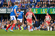 Josh Windass runs at the Portsmouth defence during the Sky Bet League 2 match between Portsmouth and Accrington Stanley at Fratton Park, Portsmouth, England on 5 September 2015. Photo by Adam Rivers.
