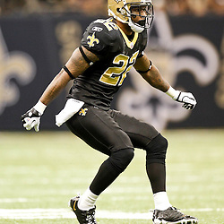 December 4, 2011; New Orleans, LA, USA; New Orleans Saints cornerback Tracy Porter (22) against the Detroit Lions during a game at the Mercedes-Benz Superdome. The Saints defeated the Lions 31-17. Mandatory Credit: Derick E. Hingle-US PRESSWIRE