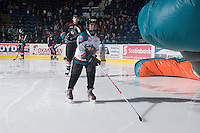 KELOWNA, CANADA, DECEMBER 3: The Pepsi Save-On Foods player of the game skates with the Kelowna Rockets as the Prince George Cougars visit the Kelowna Rockets  on December 3, 2011 at Prospera Place in Kelowna, British Columbia, Canada (Photo by Marissa Baecker/Shoot the Breeze) *** Local Caption ***