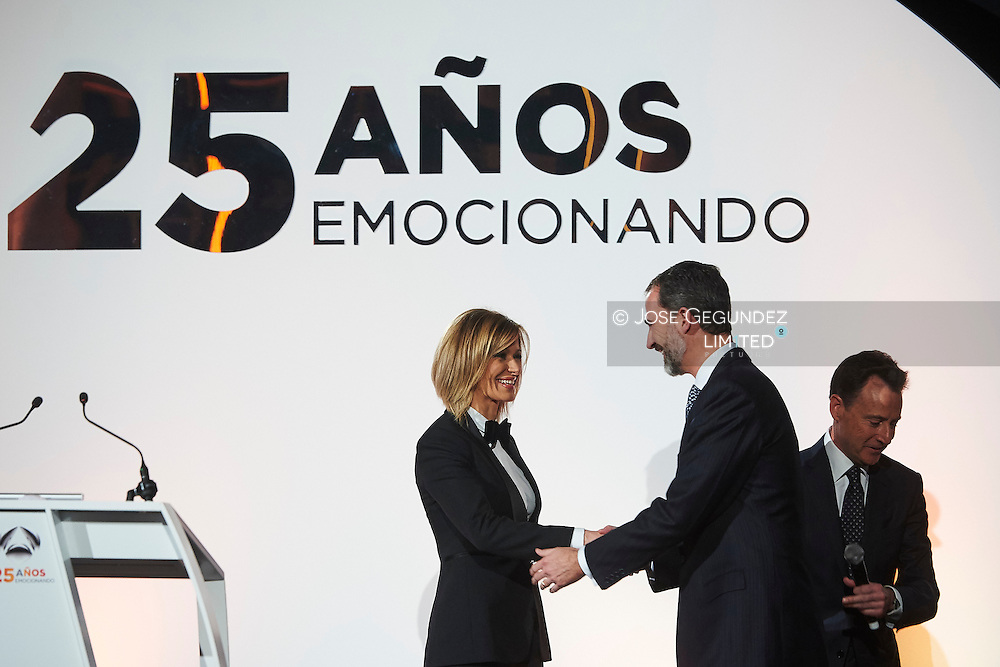 King Felipe VI of Spain attended to Antena3's 25th anniversary party at Palacio de Cibeles on January 29, 2015 in Madrid