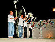 Israel, Jordan Valley, Kibbutz Ashdot Yaacov, Sukkoth celebration. The men of the Kibbutz doing the Lulav (Palm branch) dance