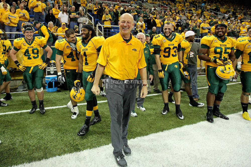 Dec 20, 2013; Fargo, ND, USA; North Dakota State Bison head coach Craig Bohl smiles during the fourth quarter against the New Hampshire Wildcats at FargoDome. North Dakota State defeated New Hampshire 52-14. Mandatory Credit: Brace Hemmelgarn-USA TODAY Sports