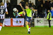 Havant & Waterlooville forward Alfie Rutherford tussles with Maidenhead United defender Seth Twumasi during the Vanarama National League match between Maidenhead United and Havant & Waterlooville FC at York Road, Maidenhead, United Kingdom on 26 March 2019.