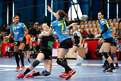 Janja Rebolj of RK Zagorje vs Ines Amon of RK Krim Mercator during handball match between RK Zagorje and RK Krim Mercator in Final game of Slovenian Women Handball Cup 2017/18, on April 1, 2018 in Park Kodeljevo, Ljubljana, Slovenia. Photo by Matic Klansek Velej / Sportida