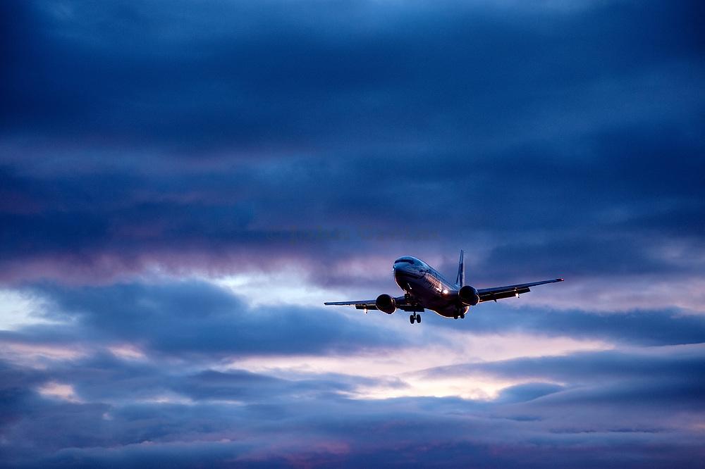 Alaska Airlines jet airlpane in flight, Alaska, USA.