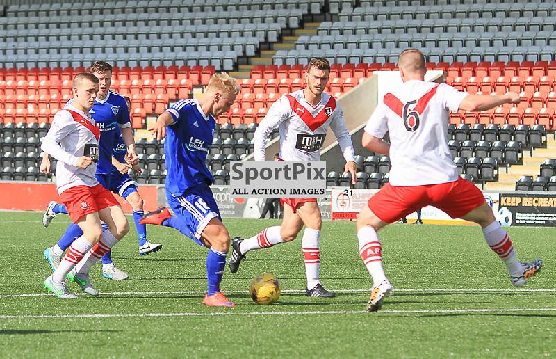 Airdrieonians V Peterhead  Scottish League One 29 August 2015; Peterhead's Jordon Brown takes a shot at goal during the Airdrieonians V Peterhead Ladbrokes Scottish League One match played at Excelsior Stadium, Airdrie.