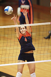 Virginia Cavaliers OH Lauren Dickson (4).  The Virginia Cavaliers Volleyball Team fell to the Florida State Seminoles three games to none on October 14, 2006 at Memorial Gymnasium in Charlottesville, VA...