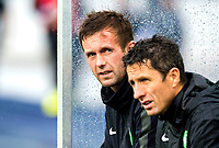 08/07/14 PRE-SEASON FRIENDLY<br /> LASK LINZ V CELTIC<br /> LINZER STADION - AUSTRIA<br /> Celtic manager Ronny Deila (left) and assistant John Collins sit in the dugout as their side take on LASK Linz in Austria.