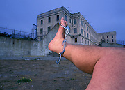 Footograph: Photograph of my right foot breaking out of Alcatraz Federal Penetentiary in San Francisco, California USA