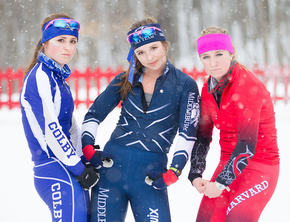 Nicolette Amber, Olivia Amber, and Rachel Hampton after the Bates College Winter Carnival Women's 15k Classic Mass Start at Black Mountain on January 16, 2015 in Rumford, ME. (Dustin Satloff/Colby College Athletics)
