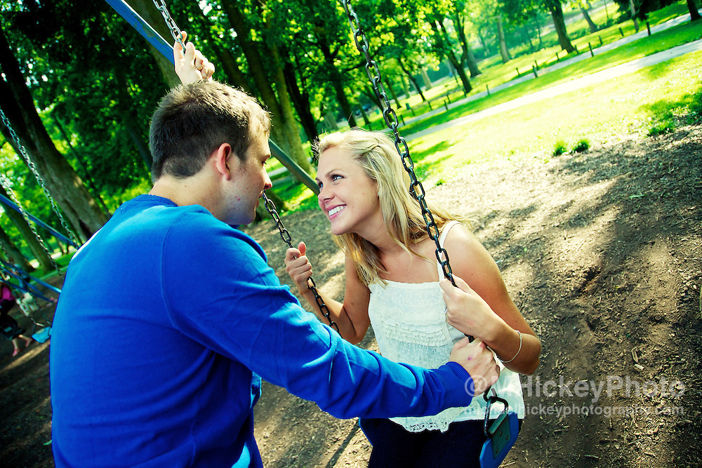 Engagement photos of Jessica Moore and Kyle Dubois at Highland Park in Kokomo, Indiana. .Wedding and engagement photography by Michael Hickey