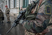 LYON, FRANCE - JANUARY 16: French soldiers provide security of Great Synagogue, Great Mosque and some shopping malls on January 16, 2015 in Lyon, France. France announced on January 12 an unprecedented deployment of soldiers and policemen to boost security, after seventeen people were killed in terrorist attacks that began with an assault on the satirical Charlie Hebdo magazine last Wednesday and ended in a siege at a Jewish supermarket two days later. (Photo by Bruno Vigneron/Getty Images)