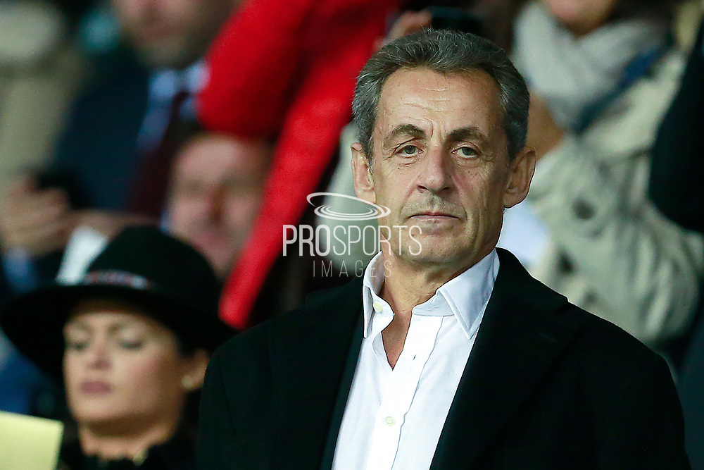 Former French president Nicolas Sarkozy attends the UEFA Champions League, Group B football match between Paris Saint-Germain and Bayern Munich on September 27, 2017 at the Parc des Princes stadium in Paris, France - Photo Benjamin Cremel / ProSportsImages / DPPI