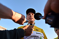 Interview, medias, press, BOASSON HAGEN Edvald (NOR) Dimension Data,, Yellow Gold Leader Jersey, during the 15th Tour of Qatar 2016, Stage 3, Lusail Circuit - Lusail Circuit (11,4Km)/ Time Trial, on February 10, 2016 - Photo Tim de Waele / DPPI