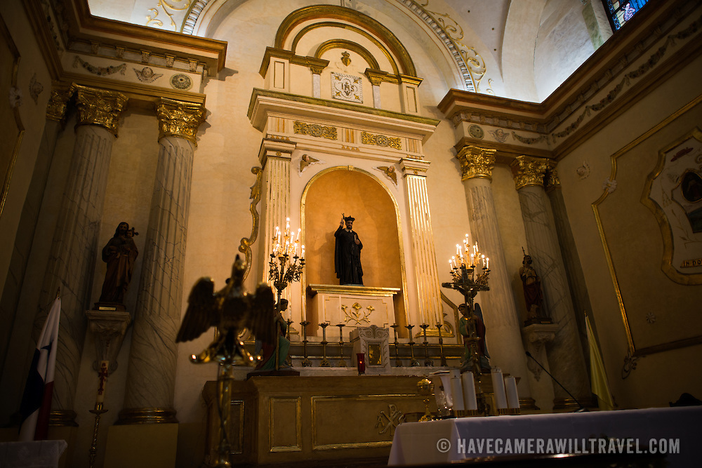 The altar inside the Oratorio San Felipe Neri in the heart of the historic Casco Viejo neighborhood of Panama City, Panama. It is one of the oldest churches in the city and was inaugurated in 1688.