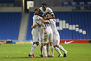 Duncan Watmore (Sunderland), England U21 is congratulated after he puts England 2-1 up during the UEFA European Championship Under 21 2017 Qualifier match between England and Switzerland at the American Express Community Stadium, Brighton and Hove, England on 16 November 2015. Photo by Phil Duncan.
