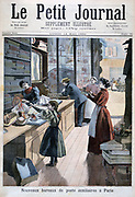 A Paris sub-post office in a milliner's shop.  From 'Le Petit Journal', Paris, 14 May 1894. France