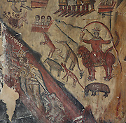 A dragon eating sinners in a river of fire (below) while other people and animals await judgement, Day of Judgement fresco in the narthex of the Holy Resurrection Church or Kisha e Ristozit, 14th century, Mborje, Korce, Albania. The church, dedicated to St Mary, is a Cultural Monument of Albania. Picture by Manuel Cohen