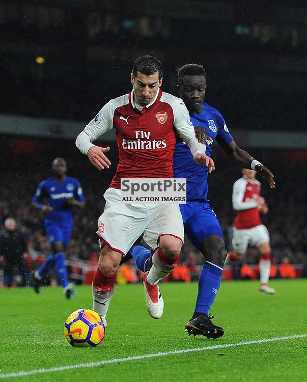 Henrikh Mkhitaryan of Arsenal is challenged by Idrissa Gueye of Everton during Arsenal vs Everton, Premier League, 03.02.18 (c) Harriet Lander | SportPix.org.uk
