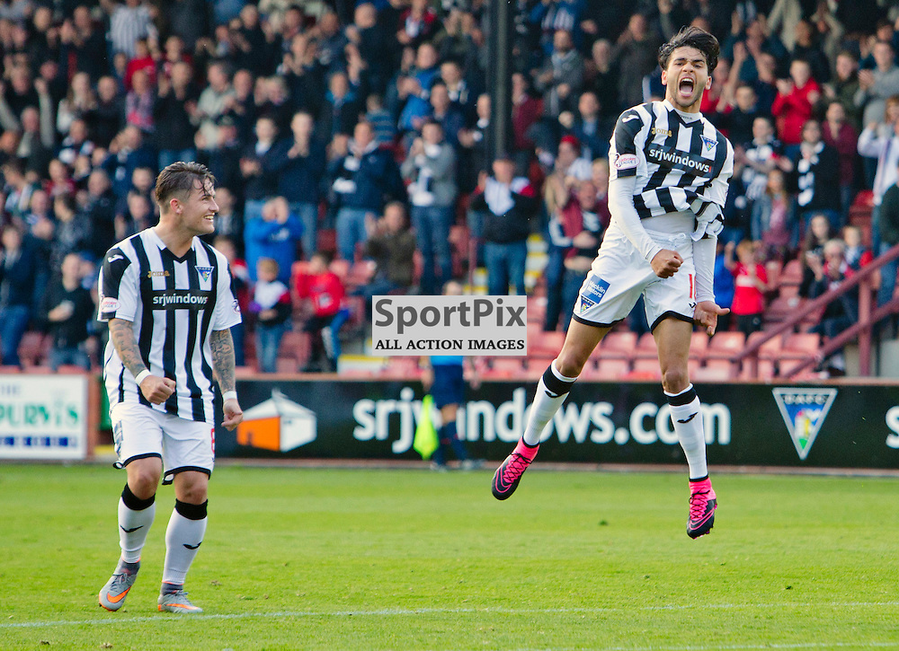 Dunfermline Athletic v Albion Rovers SPFL League One Season 2015/16 East End Park 03 October  2015<br /> Faissal El Bahktaoui celebrates his goal with RHys McCabe<br /> CRAIG BROWN | sportPix.org.uk