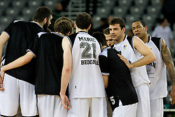 Players of Partizan at first semifinal match of League NLB Final Four tournament  between KK Partizan Beograd and Hemofarm STADA Vrsac, on April 23, 2010, in Arena Zagreb, Zagreb, Croatia. Partizan defeated Hemofarm 72-67.  (Photo by Vid Ponikvar / Sportida)