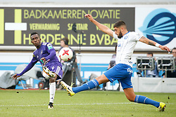 August 27, 2017 - Gent, BELGIUM - Anderlecht's Henry Onyekuru and Gent's Stefan Mitrovic fight for the ball during the Jupiler Pro League match between KAA Gent and RSC Anderlecht, in Gent, Sunday 27 August 2017, on the fifth day of the Jupiler Pro League, the Belgian soccer championship season 2017-2018. BELGA PHOTO BRUNO FAHY (Credit Image: © Bruno Fahy/Belga via ZUMA Press)
