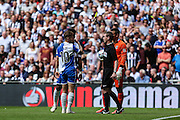 Matt Taylor gets booked for diving during the Vanarama Conference Final between Bristol Rovers FC and Grimsby Town FC at Wembley Stadium, London, England on 17 May 2015. Photo by Shane Healey.