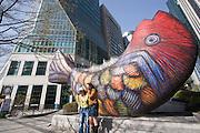 Yeoido Island. Modern fish sculpture.