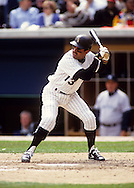 CHICAGO, IL-UNDATED: Chicago White Sox shortstop and future manager Ozzie Guillen is pictured in action at Comiskey Park in Chicago Illinois.  (Photo by Ron Vesely)