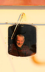 ATLANTIC OCEAN ABOARD ARCTIC SUNRISE 31MAY11 - Captain Pete Bouquet of the UK   aboard the Greenpeace Ship Arctic Sunrise in the Arctic sea ice in the Labrador Sea.....jre/Photo by Jiri Rezac / Greenpeace