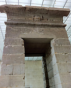 Reconstruction of the  Temple of Dendur at the  Metropolitan Museum of Art, New York. Roman Period, Augustus Caesar, about 15 B.C. Egypt and Sudan, Nubia, Dendur, West bank of the Nile River, 50 miles South of Aswan